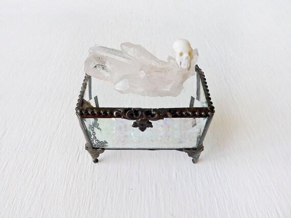 10% SALE - Beveled Glass Jewelry Box with Australian Opal Carved Rainbow Skull on Crystal Quartz