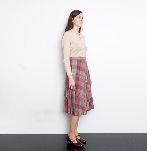 70s NOS Vintage dark pink grey  plaid pleated Skirt size S  M