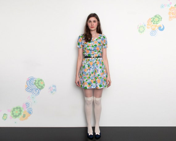 60s multicolor and White floral Mini Dress NOS Vintage