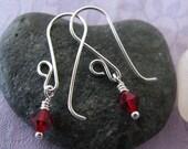 Swarovski Rudy Red Sweet 16 Earrings, July Birthstone Jewelry, July Birthstone Earrings, Ruby Earrings, Crystal Earrings, Red Earrings