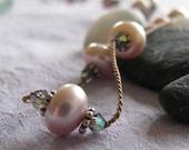 Pink Pearl Necklace, Float Necklace, Tin Cup Necklace, Black Diamond Swarovski, June Birthstone Jewelry
