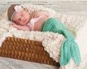 Baby mermaid photo prop- 1-3 months- 4 piece set- made to order.