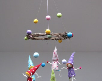 Dont worry, be happy. Needle felted mobile. Made to order