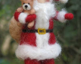 Santa Claus, Christmas decoration, Needle felted, Xmass, Waldorf inspired
