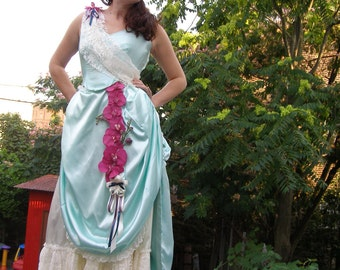 SALE: Victorian Show Stopper Bustled Steampunk Gown, Mint Satin