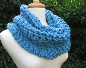 Chunky Cowl Scarf Neckwarmer Capelet Snood Soft Warm Comfy Blue