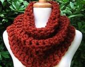 Cowl Scarf Neckwarmer Capelet Shawlette Soft Warm Comfy Red