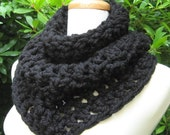 Chunky Cowl Scarf Neckwarmer Capelet Snood Soft Warm Comfy Black