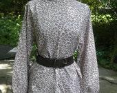 Vintage 80s Leopard Print Blouse, Size M-L