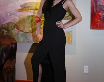 Sexy Vintage 80s Black Maxi Dress with High Slit