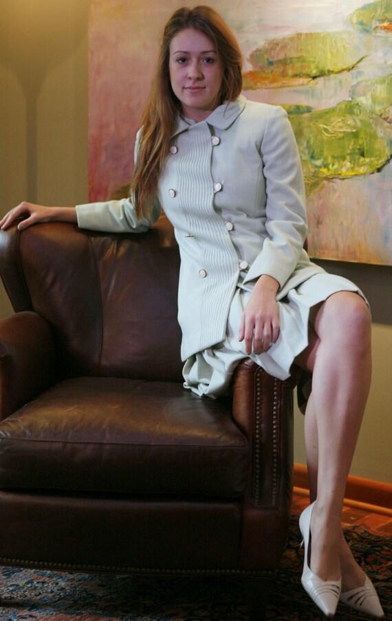 Vintage 60s Dress Suit: Joseph Stein Mod Stewardess Style in Mint Green Knit
