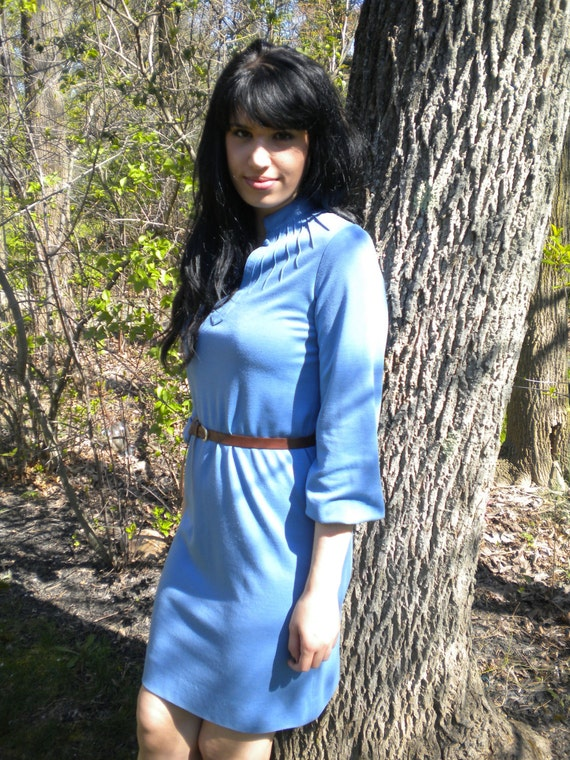 70s Baby Blue Knit Dress-A-line shift, small-medium