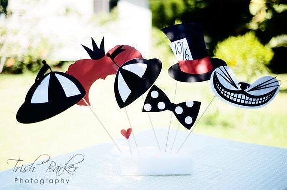 Alice In Wonderland Party Supplies- Photo Booth Props- Wonderland Costume On a Stick