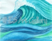 Art Print of Original Watercolor Painting. The Great Wave Israel Art Neon summer colors