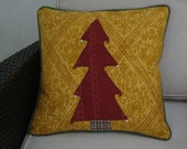 Gold and red cushion cover Christmas tree design gold red