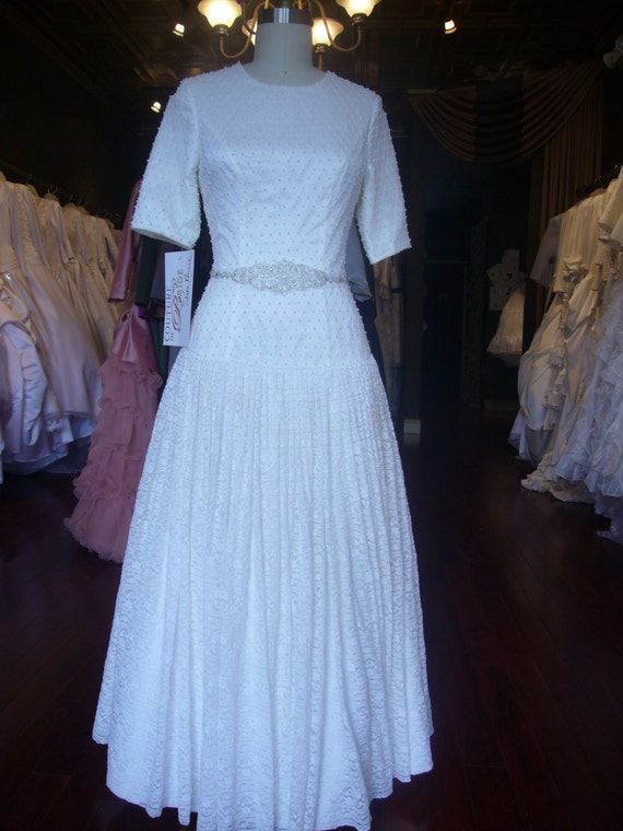 Modest Wedding Dress With Sleeves in Lace and Beading