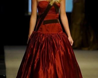 Free Ship SAMPLE Size 2 Red Evening Dress Red Wedding Red Prom Dress Hemp Silk Strapless Ball Gown Drop Waist Brown Handmade Feather Pockets