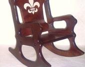 Wooden Kids Rocking Chair- Fleur de lis