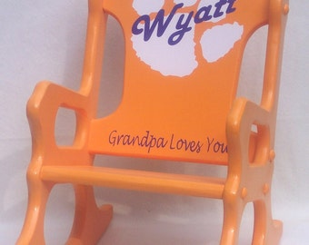 Childrens Rocking Chair orange with tiger paw