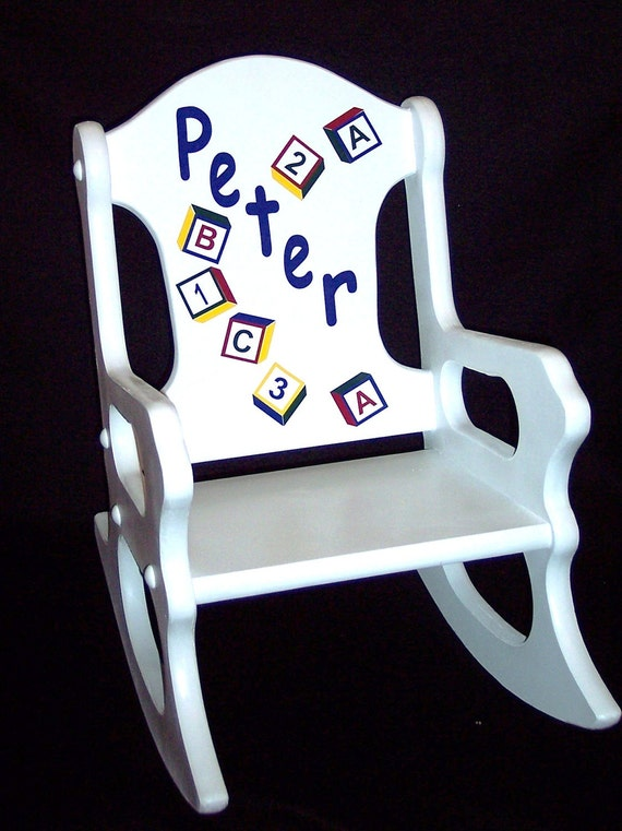 Toddler Rocking Chair with alphabet blocks