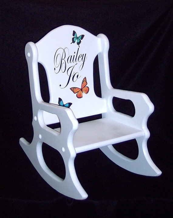 Personalized Kids Gift- Toddler Rocking chair with butterflies