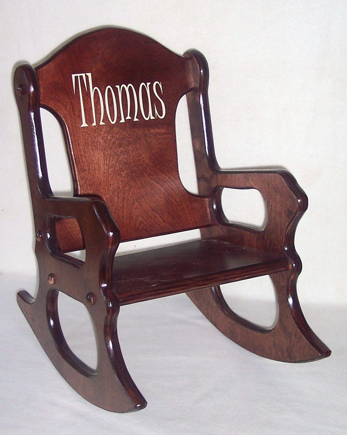 Wooden Kids Rocking Chair personalized cherry finish
