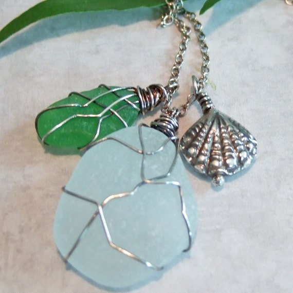 Authentic Green Beach Glass Wire Wrapped in Sterling Silver with a Sterling Shell on Sterling Silver Chain Necklace