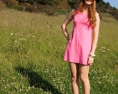 Zoe, French Vintage, Cute 1960s Hot Pink Mini Shift Dress from Paris