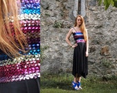 Rainbow, French Vintage, 1970s Blue, Silver and Purple Sequin, Black Party Dress, from Paris