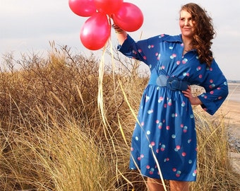 Sally Anne, French Vintage Electric Blue Long Sleeved Dress with Pretty Hot Pink Polka Dot Print