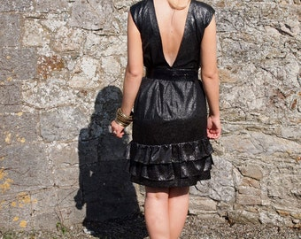 Gisele, French Vintage Black and Silver Polka Dot Dress with Ruffled Hem and Amazing Cut Out Back from Paris