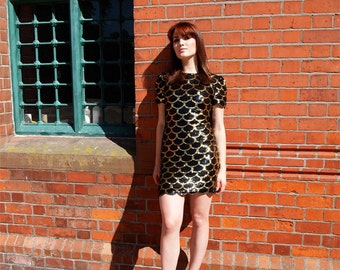 Helene, French Vintage, Black and Gold Sequin Encrusted Evening Mini Dress with Scalloped Hem from Paris