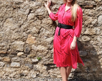 Lucie , French Vintage, 1970s Hot Pink Midi Dress with Long Sleeves from Paris