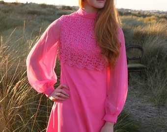 Camille, French Vintage Hot Pink 1960s Hot Pink Maxi Dress from Paris