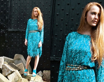 Turquoise Kisses, Stunning French Vintage, Turquoise Green Sequin Encrusted Long Sleeved Evening Scalloped Dress, from Paris