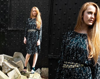 Tainted Love, Stunning French Vintage, Black Sequin Encrusted Long Sleeved Evening Scalloped Dress, from Paris