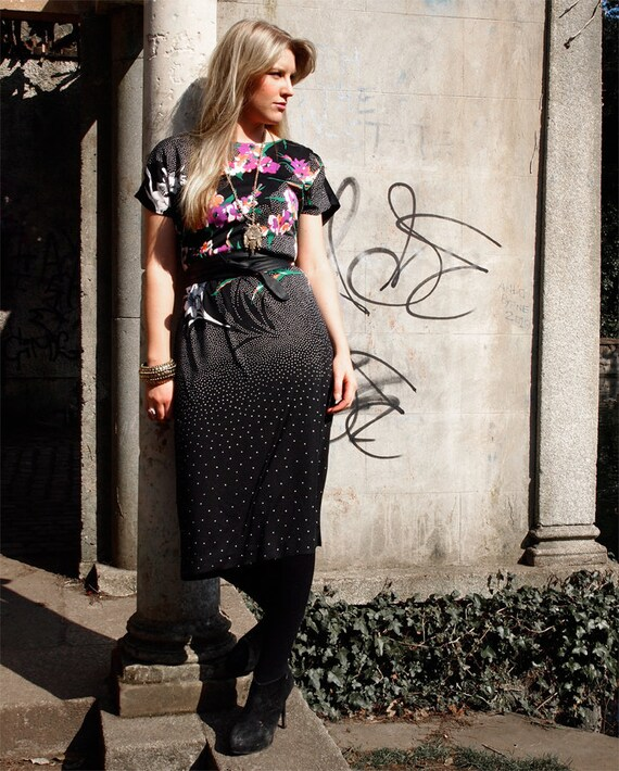 Astrid, French Vintage, Black and Hot Pink Floral Midi Dress with Polka Dot Print from Paris