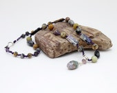 Lavender and Sage - necklace with Tiffany Stone, Amethyst Sage Agate, Dendritic Agate and Silver Leaf Jasper