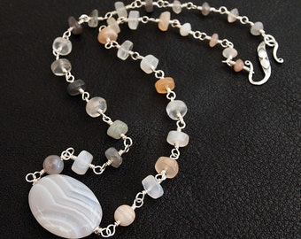 Peach and Gray Moonstone necklace with Banded Agate focal beads