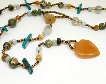 Tropical colors - mixed gemstone lariat necklace