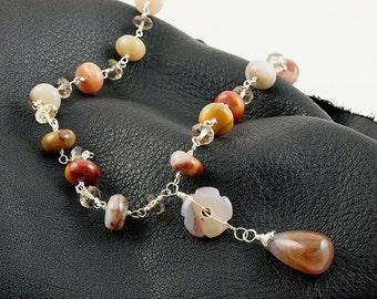 Multi colored Agate, Smoky Quartz and Citrine necklace with flower and teardrop pendant