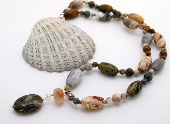 Short Ocean Jasper necklace with pendant