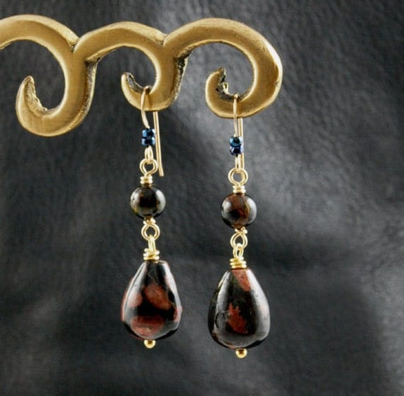 Night Blossom earrings - with Plum Blossom Jasper and Blue Tiger's Eye