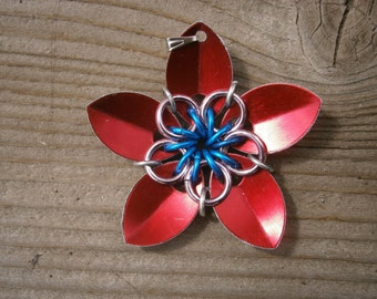 Everlasting Flower pendent in Ruby red