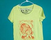 Neon Rabbicat  Tshirt, Hand Made, Linoleum Block Print