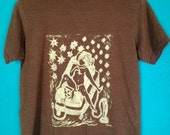 Hookah Boy Tshirt, Original Design, linoleum print, Womens Medium