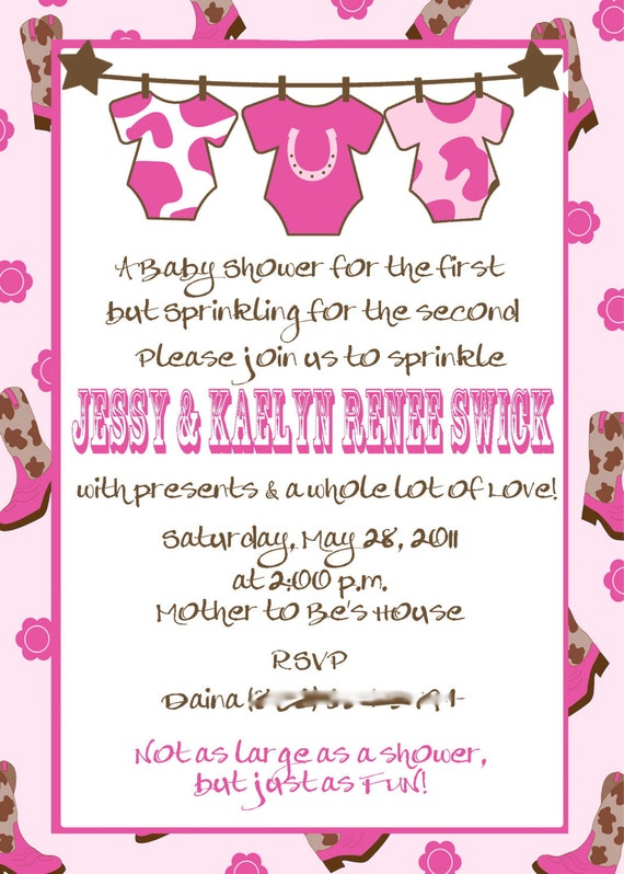 to cowgirl baby shower or sprinkle printable invitation on etsy