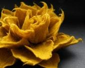 Honey Yellow Mustard Felt Flower Pin Brooch