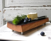 cutting board footed French oak, eco friendly gift, reclaimed wine barrel. serving entertaining