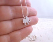 Baby Elephant Necklace - small lucky slider charm on 18 inch tiny delicate silver rhodium or gold ball chain - Little Horton Pendant